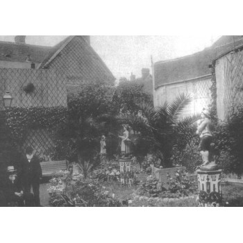 Amiot in the garden - postcard